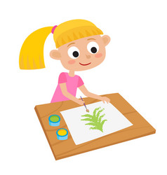 little girl artist at a table and painting vector image