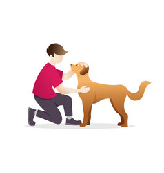 man petting a dog vector image