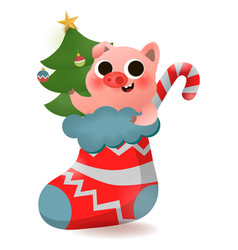 merry christmas and happy new year of pig vector image