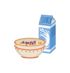 Milk And Porridge Breakfast Food Drink Set vector