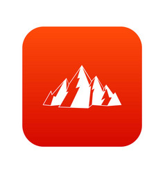 mountain icon digital red vector image
