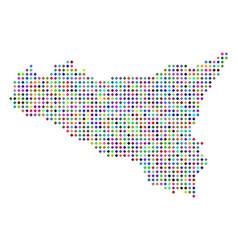 Multicolored dot sicilia map vector