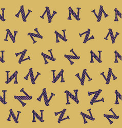 N from alfabet repeat pattern print background vector