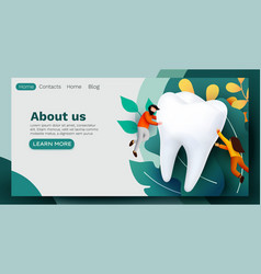 People flying around big tooth dental clinic vector