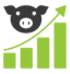 Pig growing chart halftone icon vector