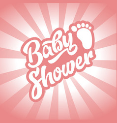 pink bafoot bashower invite greeting card vector image