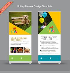 Playful geometric rollup banner design vector