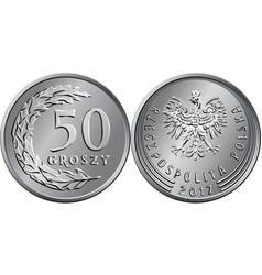 polish money fifty groszy coin vector image