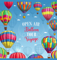 Poster for hot air balloon trip tour vector