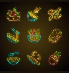 Restaurant menu dishes neon light icons set vector