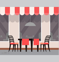 Restaurant terrasse exterior cafe with tables vector