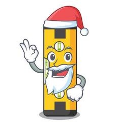 Santa spirit level in a cartoon bag vector