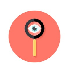 Search Magnifying Glass with Eye Circle Flat Icon vector image