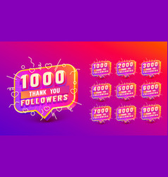 Set collection thank you followers peoples online vector