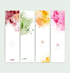 set four varicolored watercolor banners vector image