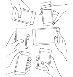 Set of hands with mobile phone smartphone vector image
