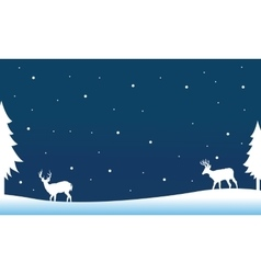 Silhouette of deer on the hill winter vector