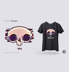 Skull with glitch effect t-shirt design print vector
