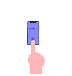 Smartphone hand voice assistant modern flat vector