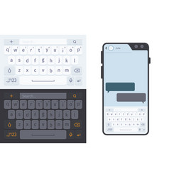 smartphone keyboard numbers and letters vector image
