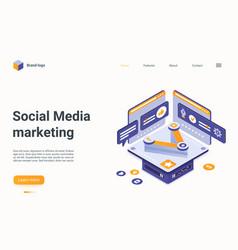 Social media marketing technology isometric vector