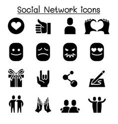 social media social network icon set vector image