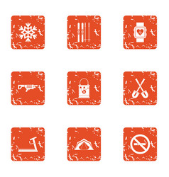 Sporting body icons set grunge style vector