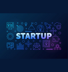 startup horizontal line colored vector image