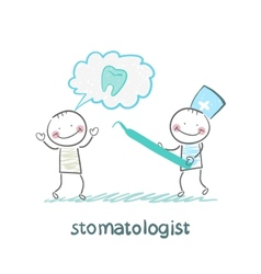 Stomatologist who listens to the patient tells the vector