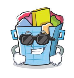 Super cool laundry basket character cartoon vector