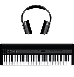 Synthesizer and headphones vector