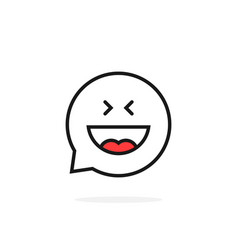 Thin line joy emoji speech bubble logo vector