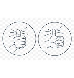thumb up in a linear style vector image