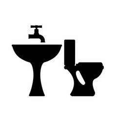 toilet and bath silhouette vector image
