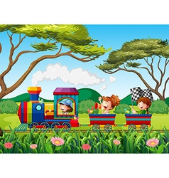 Train and children vector image vector image