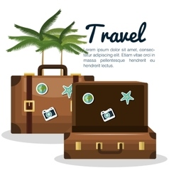 Travel suitcase vacation with palm tree design vector