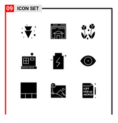 User interface pack 9 basic solid glyphs of vector