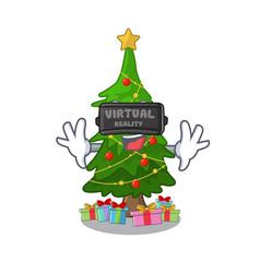 virtual reality christmas tree next to cartoon vector image