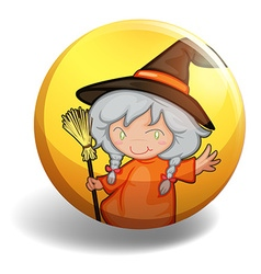 Witch with a broom on yellow badge vector
