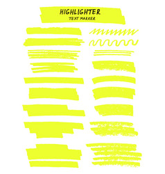 Yellow highlighter brush lines on white vector