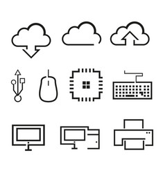 computer related outline graphic icon vector image
