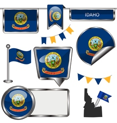 Glossy icons with Idahoan flag vector image