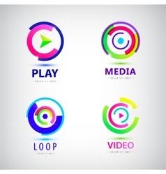 set of play logos media video vector image