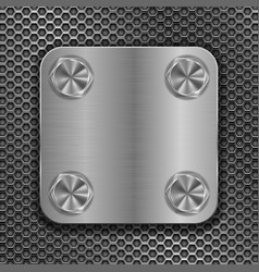 square metal plate on perforated background vector image vector image