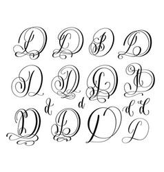 calligraphy lettering script font c set hand vector image