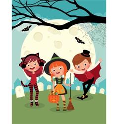 Children on Halloween party vector image