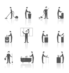 Cleaning People Set vector image vector image