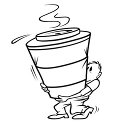 coffee large bw vector image vector image
