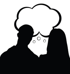 couple with speech bubble silhouette in black vector image