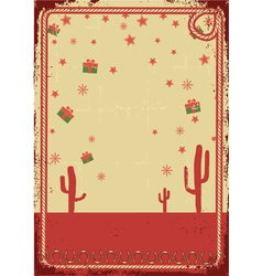 Cowboy christmas card with rope frame for text on vector image vector image